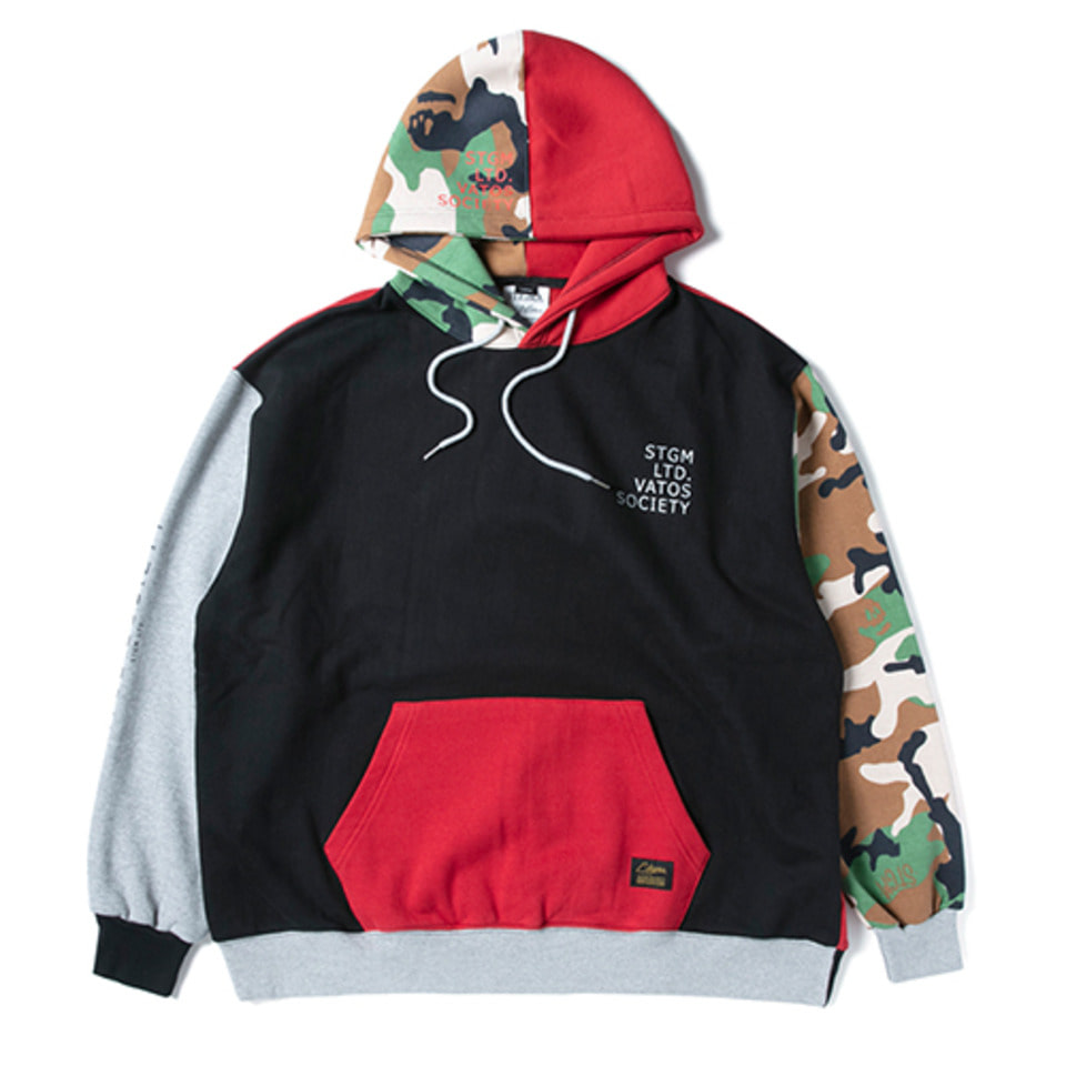 [STIGMA]MULTIPLE OVERSIZED HEAVY SWEAT HOODIE - GREEN CAMOUFLAGE