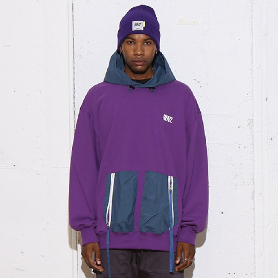 [RENDEZVOUZ] DOUBLE POCKET HOODIE PURPLE