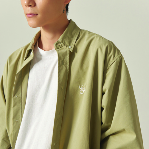 [CHOISI]Cotton Loose Fit Shirt, Olive