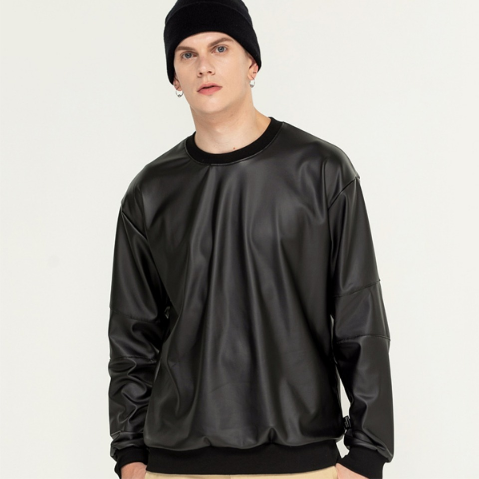 [Trippin CeLL] Artificial Leather Sweatshirt (black)