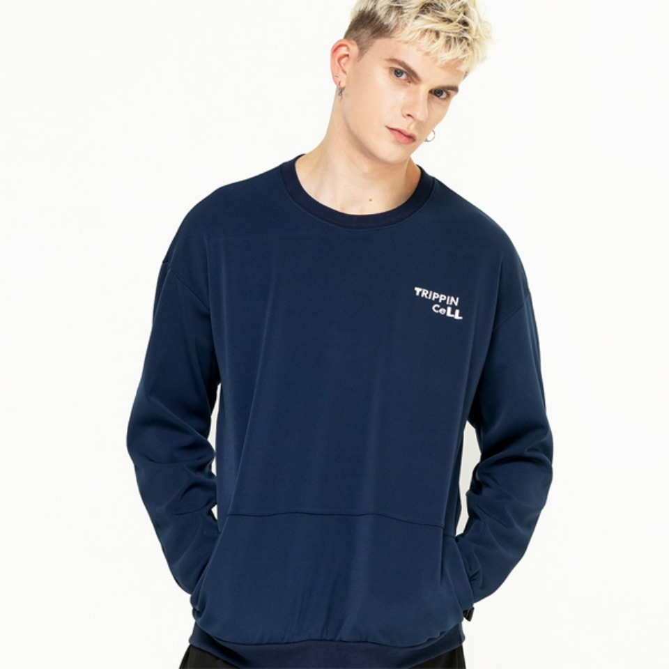 [Trippin CeLL] DECO pocket sweatshirt (navy)
