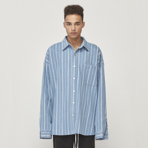 [D.PRIQUE] Denim Shirt Jacket Blue Striped (D18F303)