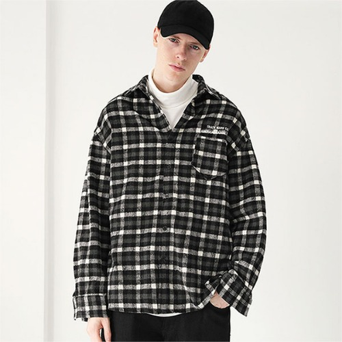 [TENBLADE] Flannel tartan check shirt_Black