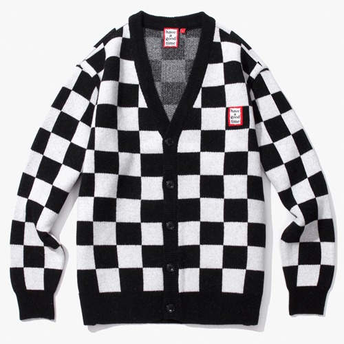 [Have a good time] CHECKERBOARD CARDIGAN - WHITE/BLACK