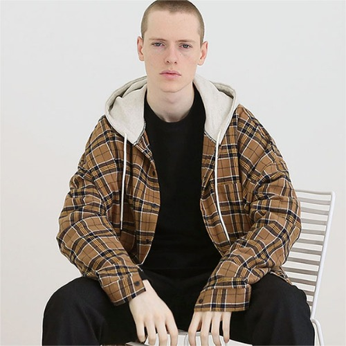 [TENBLADE] Tartan check hood shirt_Brown