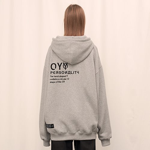 [OY] EMBROIDERY  HOODIE - GY