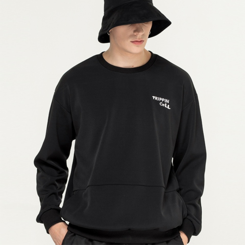 [Trippin CeLL] DECO pocket sweatshirt (black)