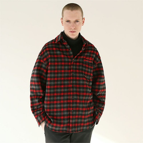 [TENBLADE] Flannel tartan check shirt_Red