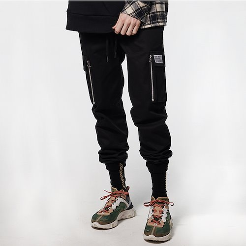 [DEADEND] CARGO ZIPPER JOG PANTS - BLACK