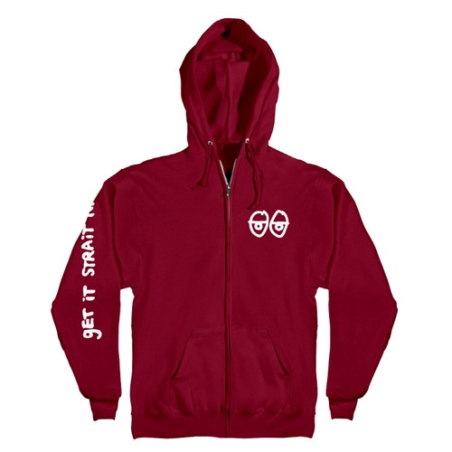 [Krooked] STOCK STRAIT EYES Hooded Zip Up Sweatshirt - RED