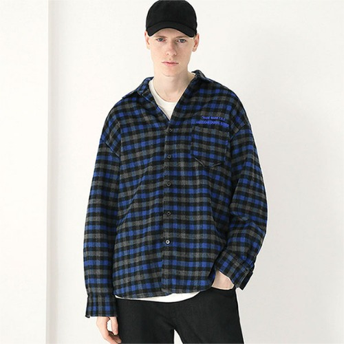 [TENBLADE] Flannel tartan check shirt_Blue