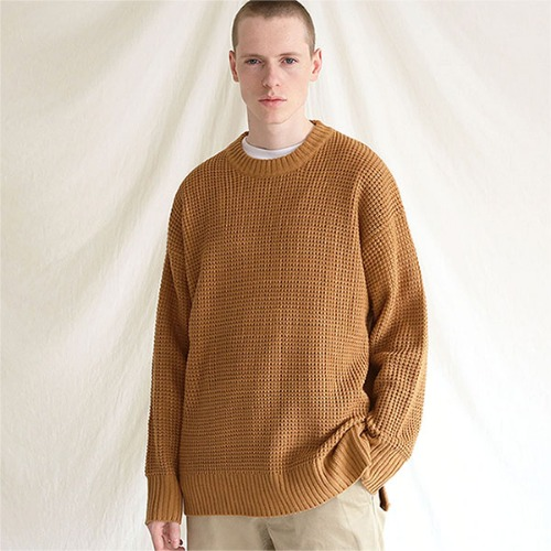 [TENBLADE] Hive crew neck placket knit_Beige