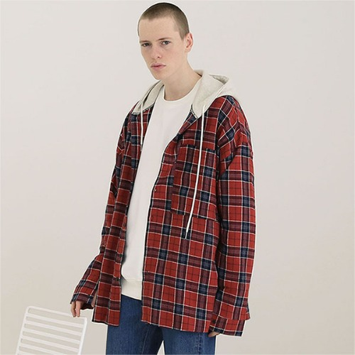 [TENBLADE] Tartan check hood shirt_Orange