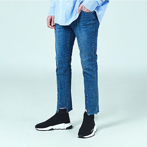 [DEADEND] IMBALANCE CROPPED JEANS - DENIM