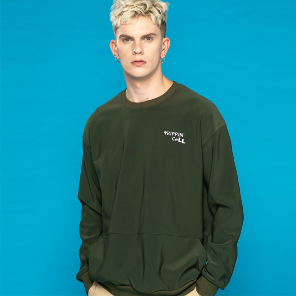 [Trippin CeLL] DECO pocket sweatshirt (khaki)