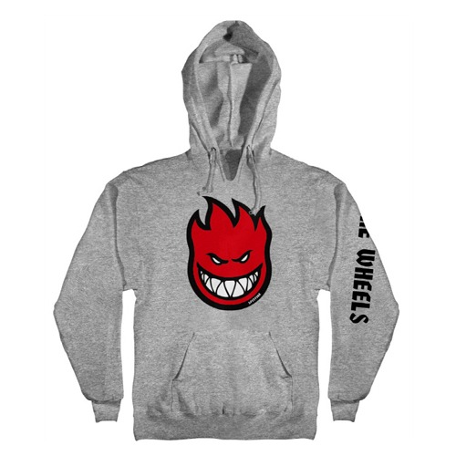 [Spitfire] BIGHEAD FILL HOMBRE Pullover Hooded Sweatshirt - GUNMETAL HEATHER / RED & BLACK Prints