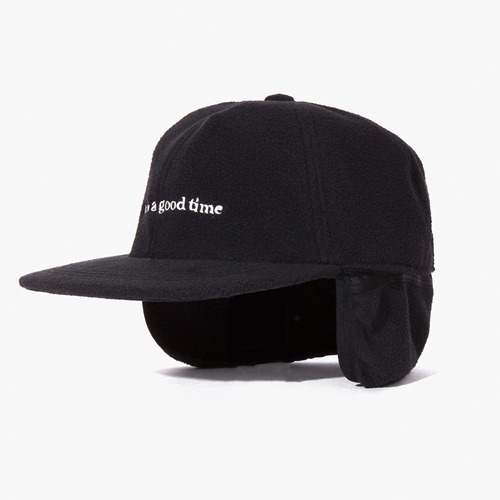 [Have a good time] FLEECE 6 PANEL CAP - BLACK