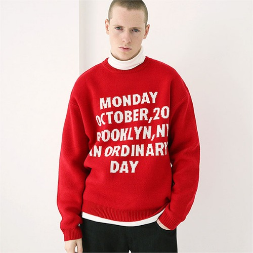 [TENBLADE] Jacquard monday heavy knit_Red