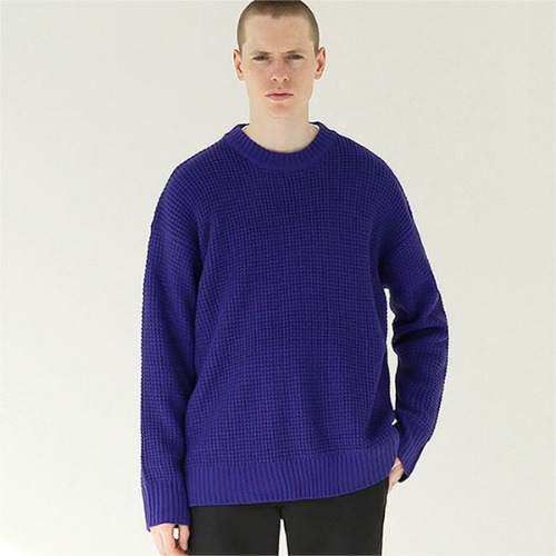 [TENBLADE] Hive crew neck placket knit_Purple
