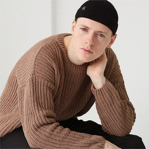 [TENBLADE] Drop shoulder heavy knit_Brown