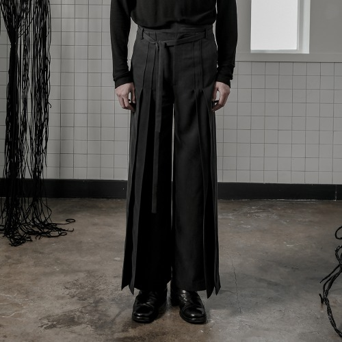 [A;UFSTAND] Tucked pleats wide pants
