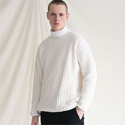 [TENBLADE] Drop shoulder heavy knit_Cream