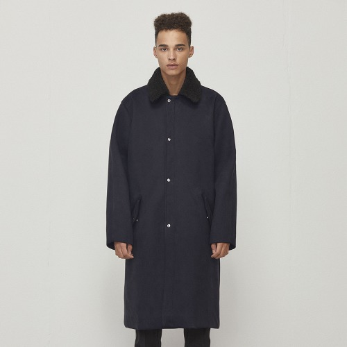 [D.PRIQUE] Oversized Long Coat Navy (D18F321)
