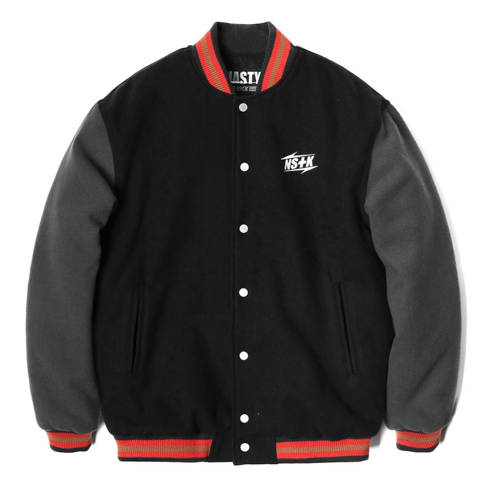 [NSTK] NSTK NARROW VARSITY JACKET BLACK (NK18A118H)