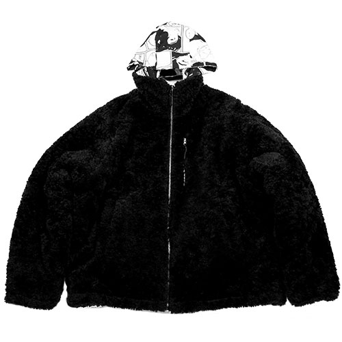 [12월 20일 예약배송][AJOBYAJO FINK LABEL] Reversible Manga Fake Fur Jacket [Black]