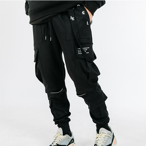 [A.Clown]Strap-Chain Zipper Cargo Pants(Jogger Ver.)(조거팬츠)