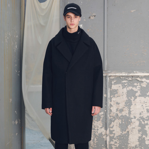 [MASSNOUN] DOUBLE OVERSIZED SUBJECT BELT WOOL COAT MFECT003-BK