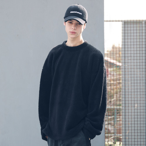 [MASSNOUN] SOFT WOOL SIDEVENT CREW NECK MFECR006-BK