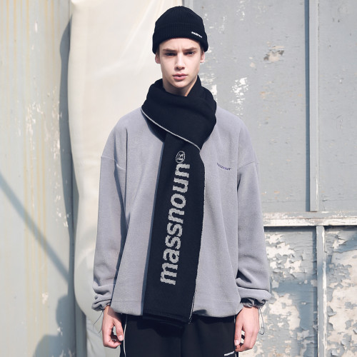 [MASSNOUN] SL LOGO DOUBLE SIDED WOOL MUFFLER MFEAM001-BK