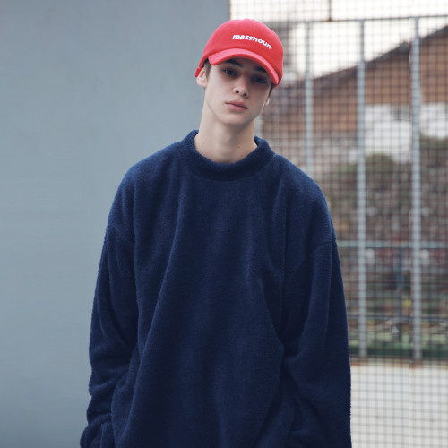 [MASSNOUN] SOFT WOOL SIDEVENT CREW NECK MFECR006-NV