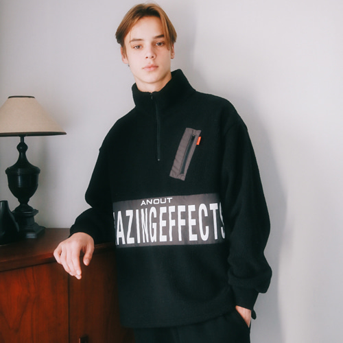 [언아웃핏]UNISEX EFFECT FLEECE ANORAK BLACK