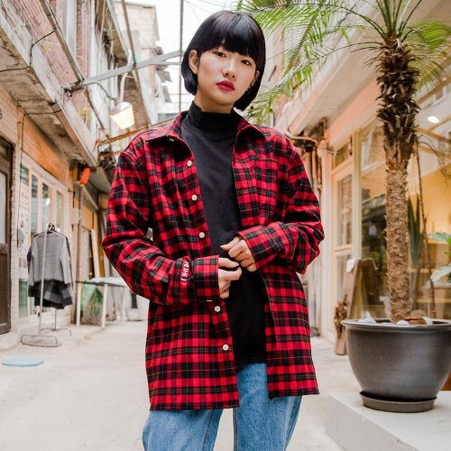 [OROR] RED CHECK OUTER SHIRTS R1-030