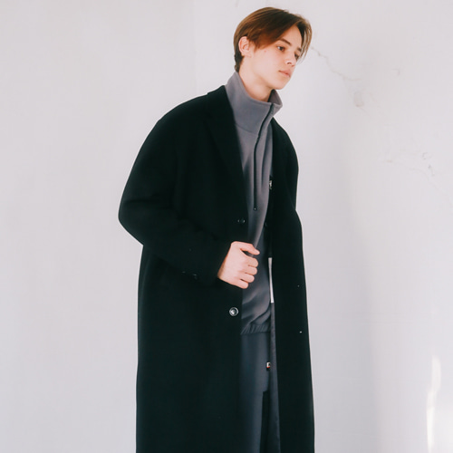 [언아웃핏]UNISEX MINIMAL WOOL SINGLE COAT BLACK