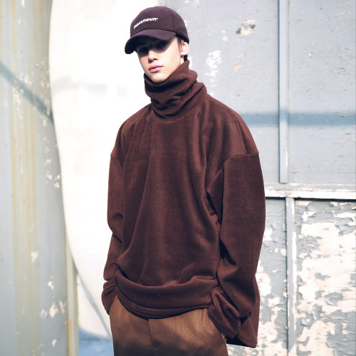 [MASSNOUN] FLEECE SL INT LOGO LONG TURTLE NECK MFECR005-BR