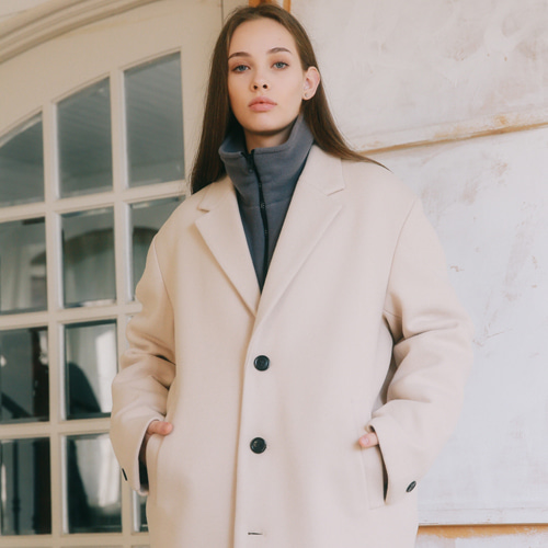 [언아웃핏]UNISEX MINIMAL WOOL SINGLE COAT BEIGE