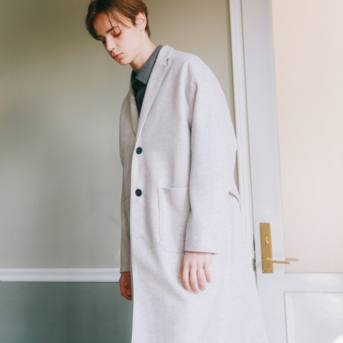 [언아웃핏]UNISEX WOOL SINGLE LONG COAT IVORY