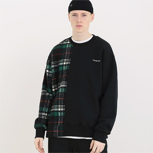 [TENBLADE] Over fit flannel check sweat shirt_Black