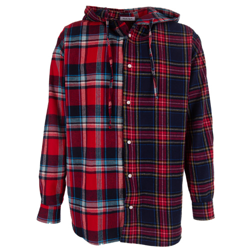 [마에다류토] Double Check mixed hood shirt - Red