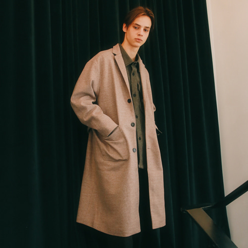 [언아웃핏]UNISEX WOOL SINGLE LONG COAT BROWN