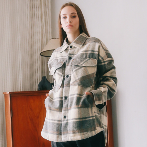[언아웃핏]UNISEX WOOL CHECK SHIRTS JACKET BLACK