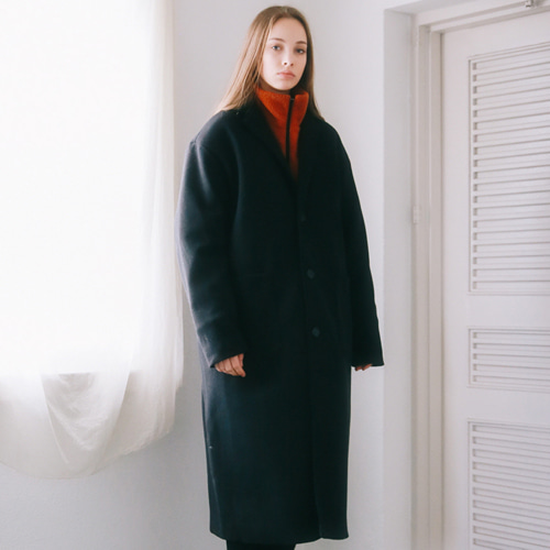 [언아웃핏]UNISEX WOOL SINGLE LONG COAT BLACK
