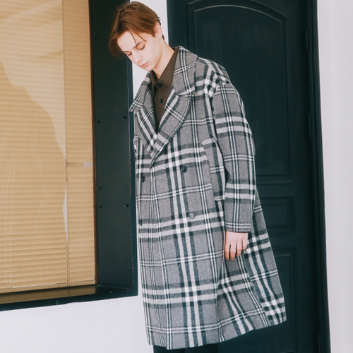 [언아웃핏]UNISEX WOOL CHECK DOUBLE COAT BLACK