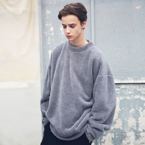 [MASSNOUN] SOFT WOOL SIDEVENT CREW NECK MFECR006-GR