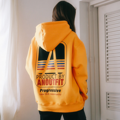 [언아웃핏]UNISEX ARTWORK PRINTING HOODIE YELLOW