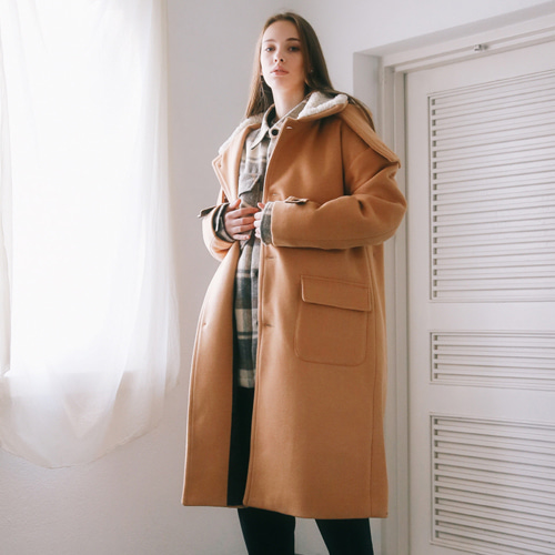 [언아웃핏]UNISEX DUMBLE COLLAR HOOD COAT BROWN
