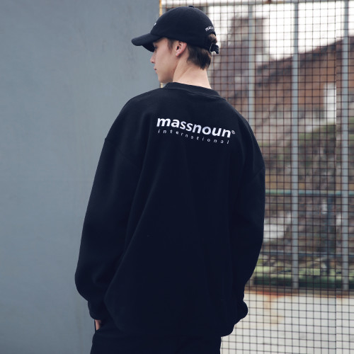 [MASSNOUN] FLEECE SL INT LOGO STRING SWEATSHIRT MFECR004-BK